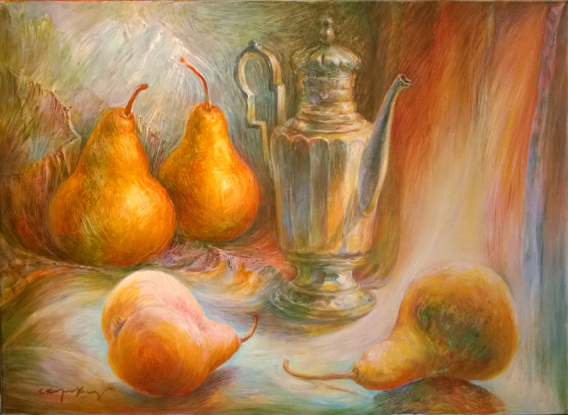 The Steadfast Tin Pot surrounded by pears